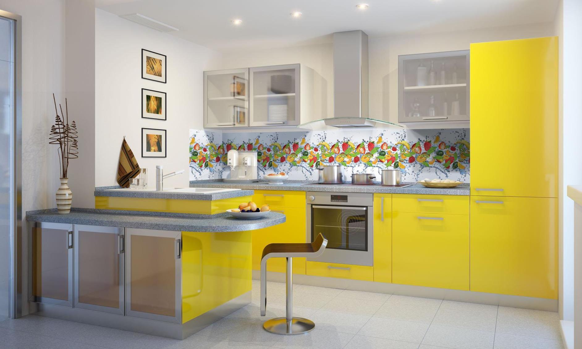 Желто-серый гарнитур на кухне