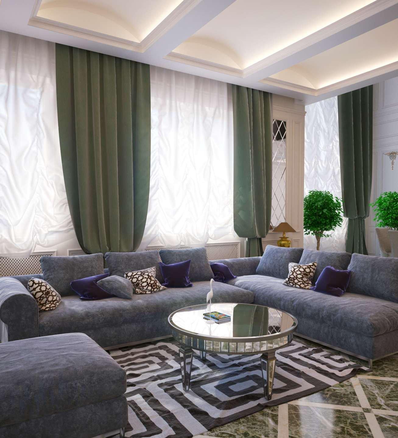 Большая гостиная в неоклассическом стиле