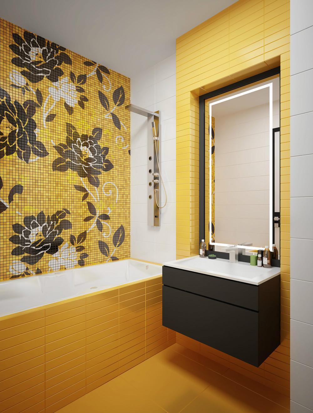 Желтая плитка и мозаика с рисунком в ванной