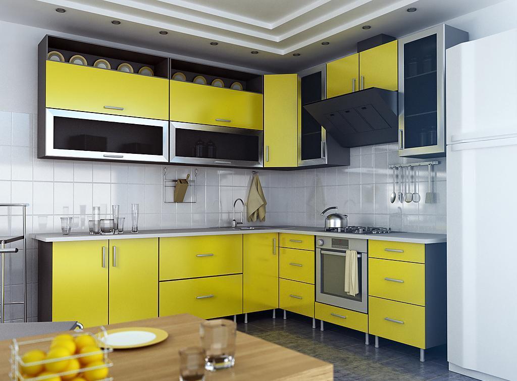 Черно-желтый угловой кухонный гарнитур