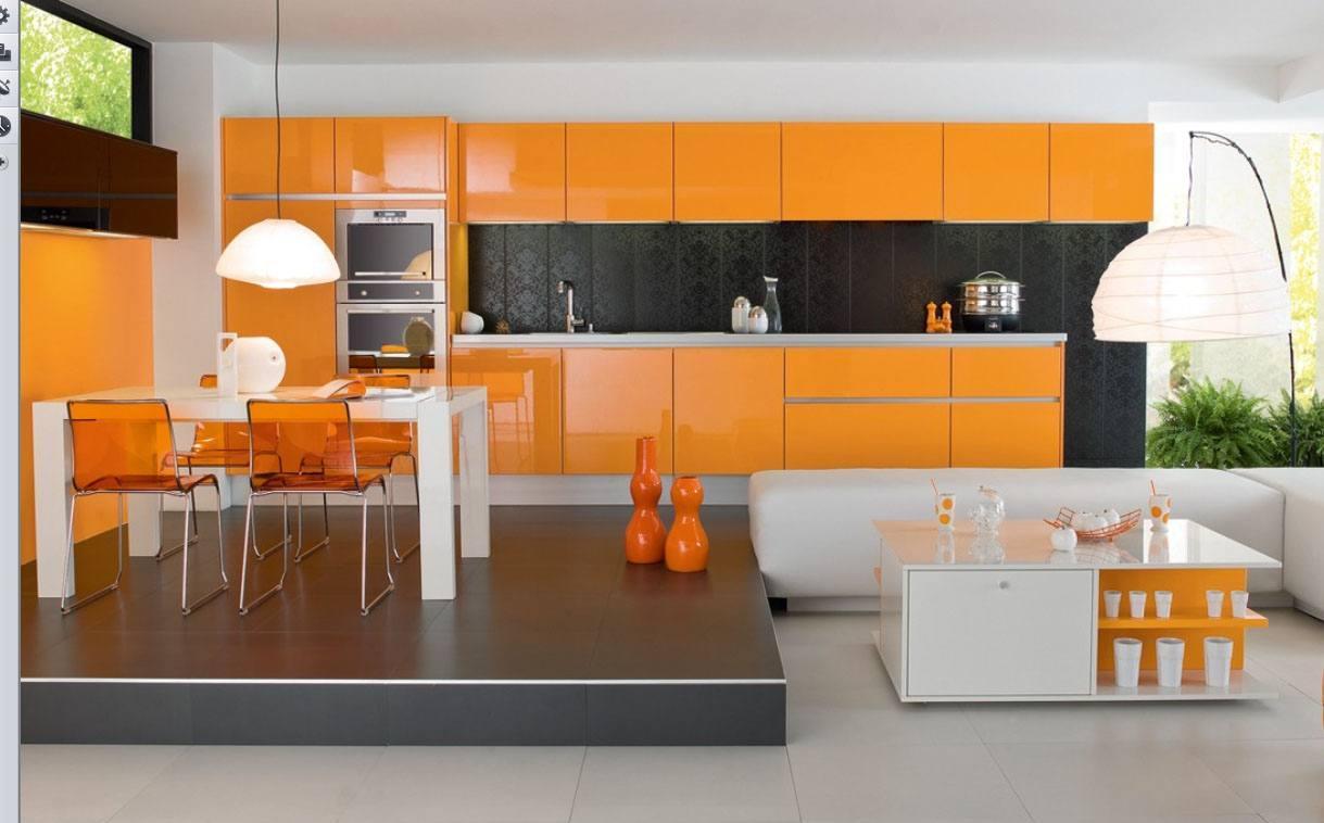 Оранжевый, белый и черный цвета на кухне