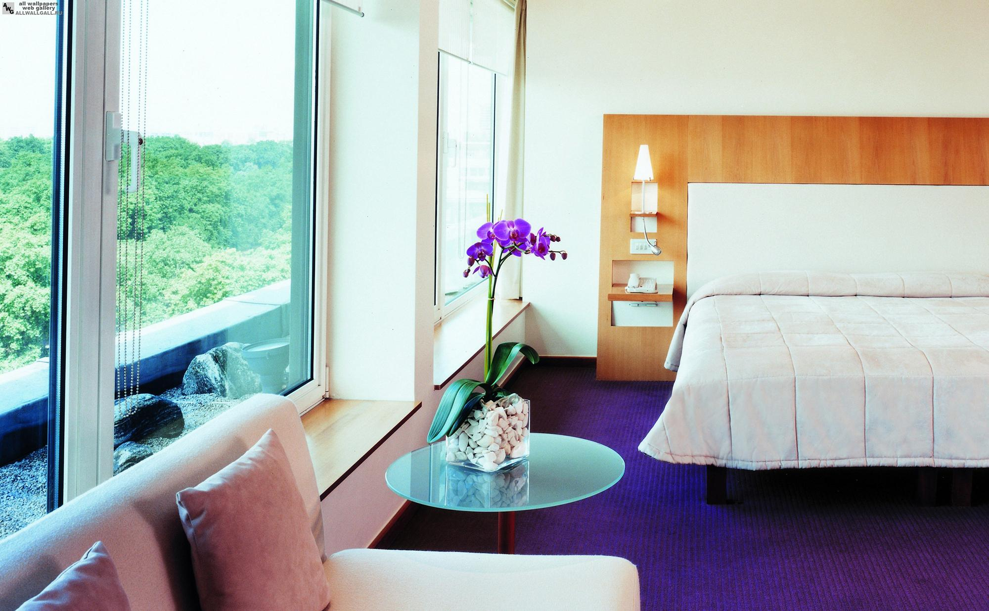Фиолетовый пол в спальне