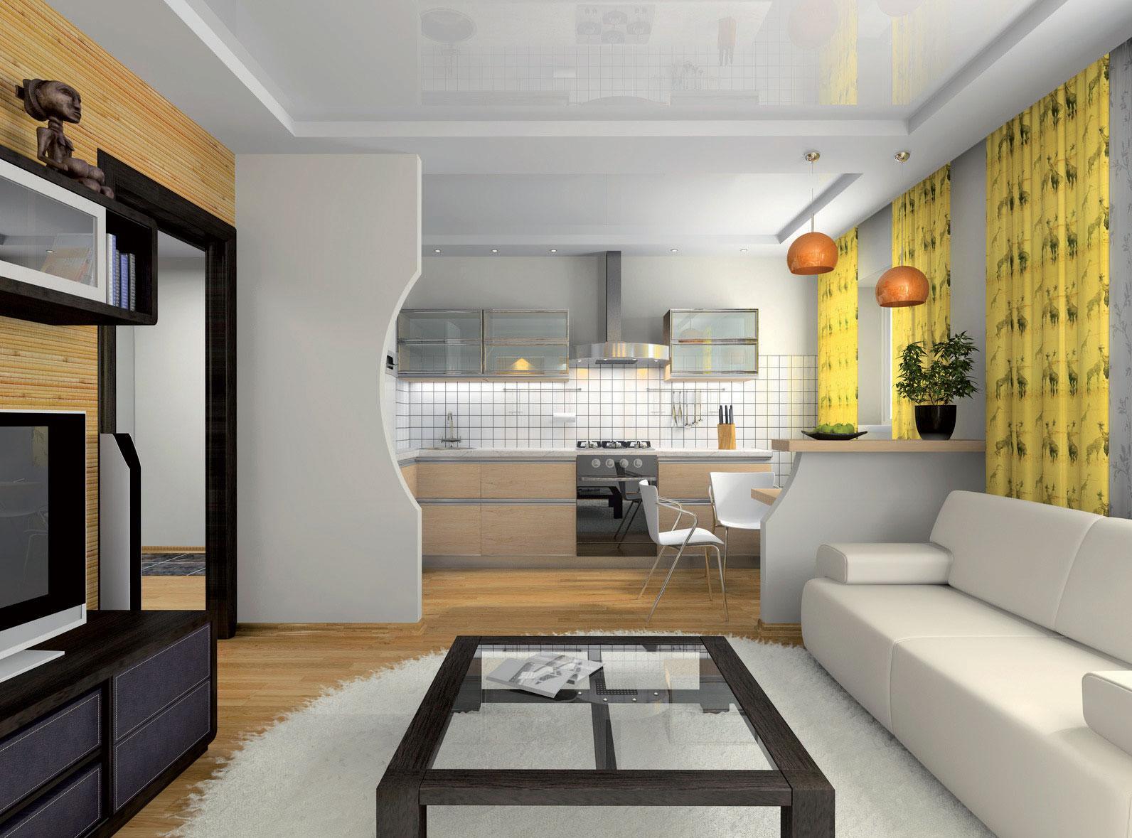 Вариант зонирования кухни-гостиной