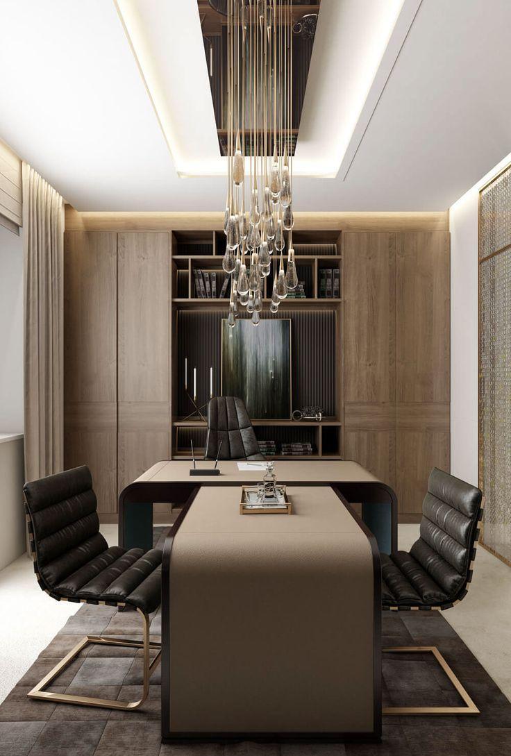 Дизайн интерьера кабинета руководителя с люстрой