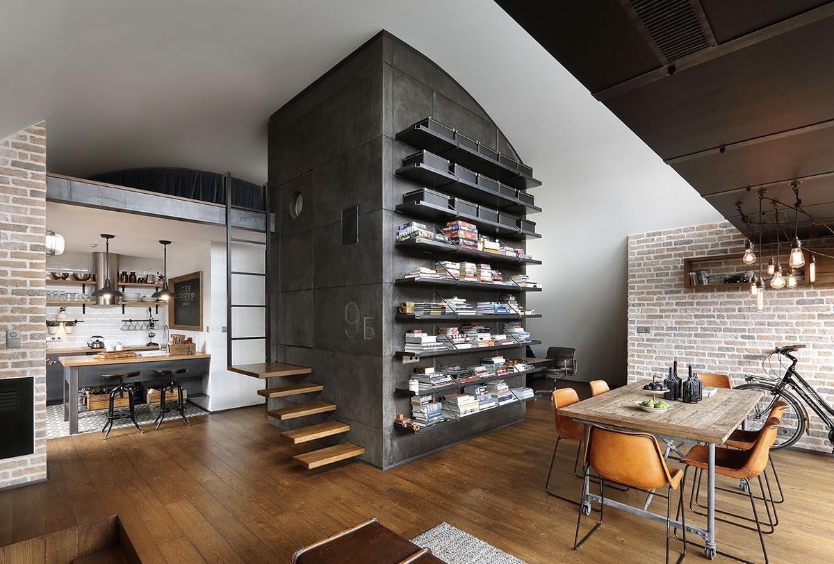 Обстановка однокомнатной квартиры в индустриальном стиле