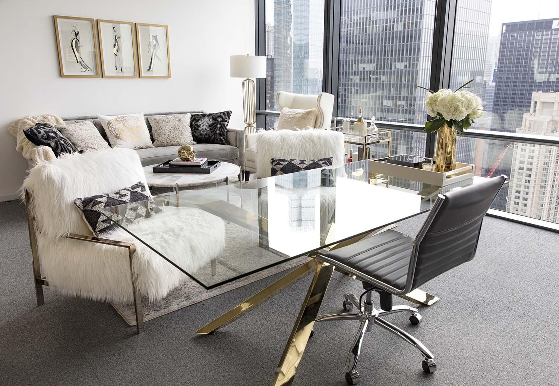 Дизайн интерьера кабинета руководителя золотой