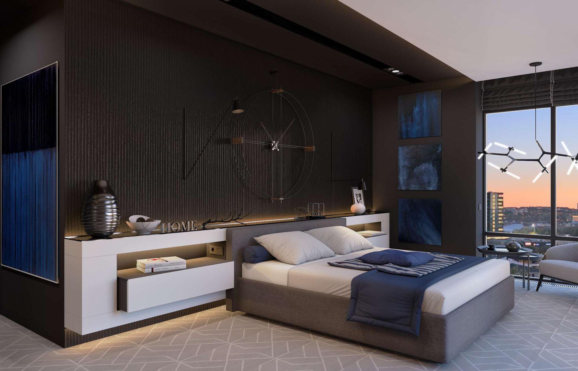 Белый, черный и синий цвета в интерьере спальни
