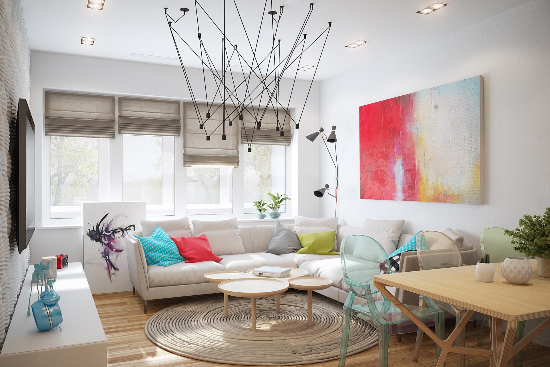 Яркая гостиная в доме в стиле минимализм