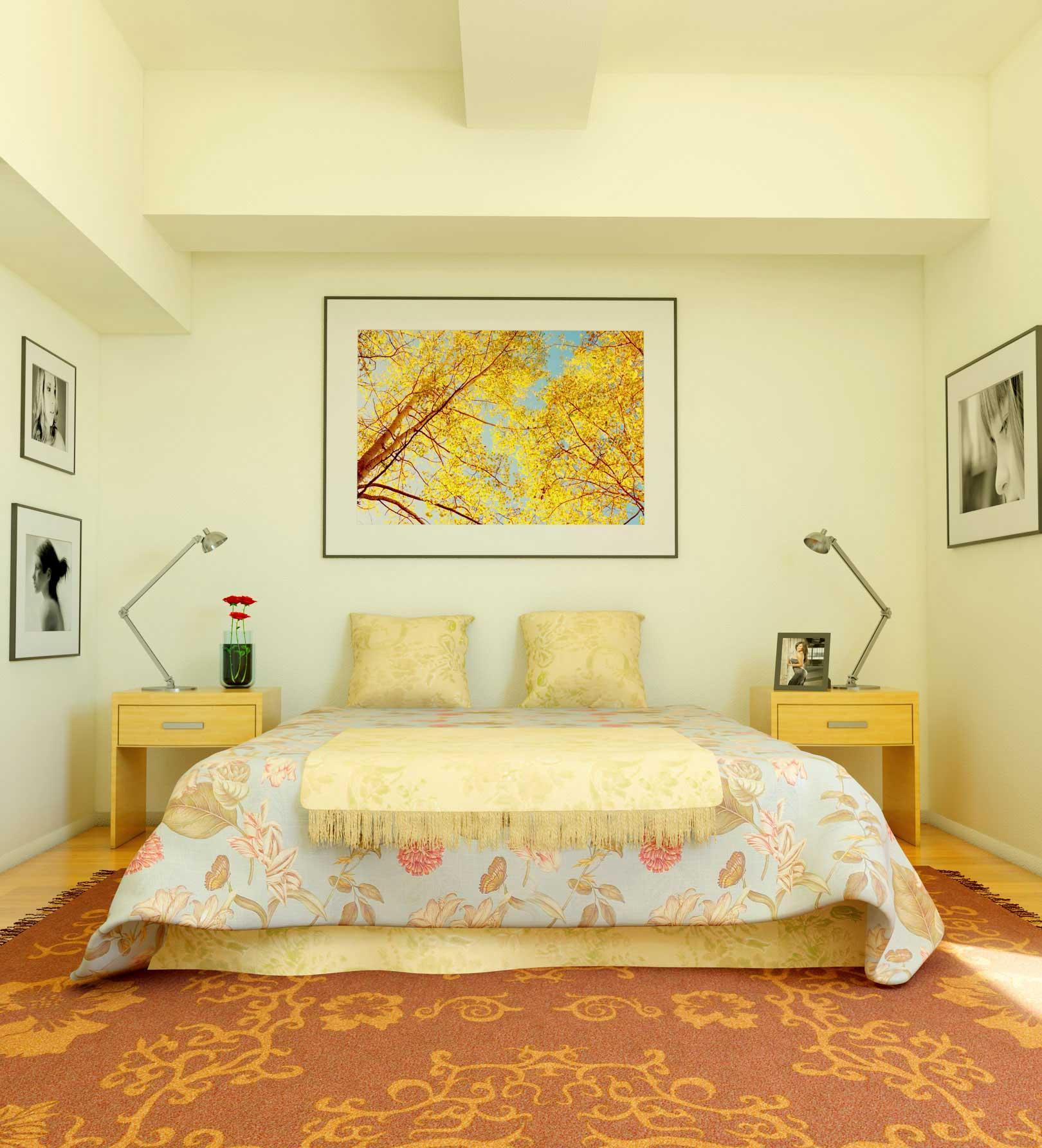 Желтые интерьерные акценты в спальне