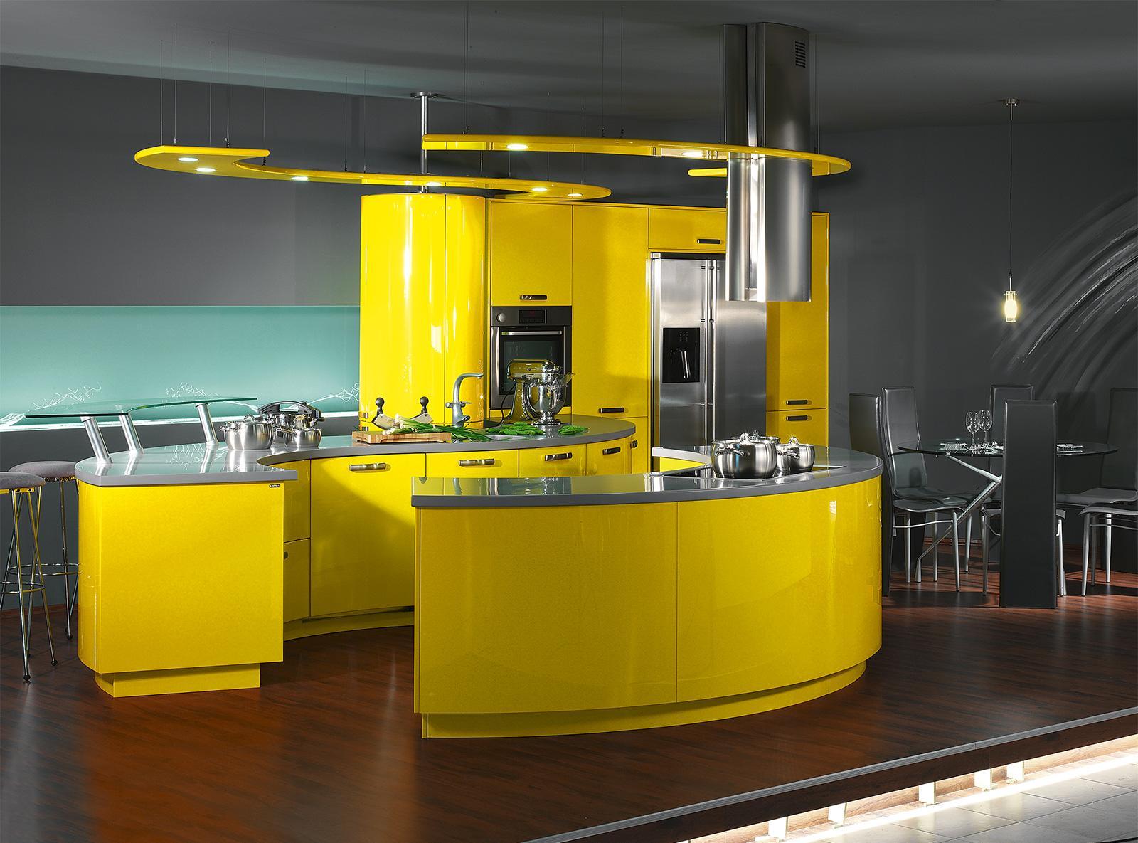 Серо-желтый современный кухонный гарнитур