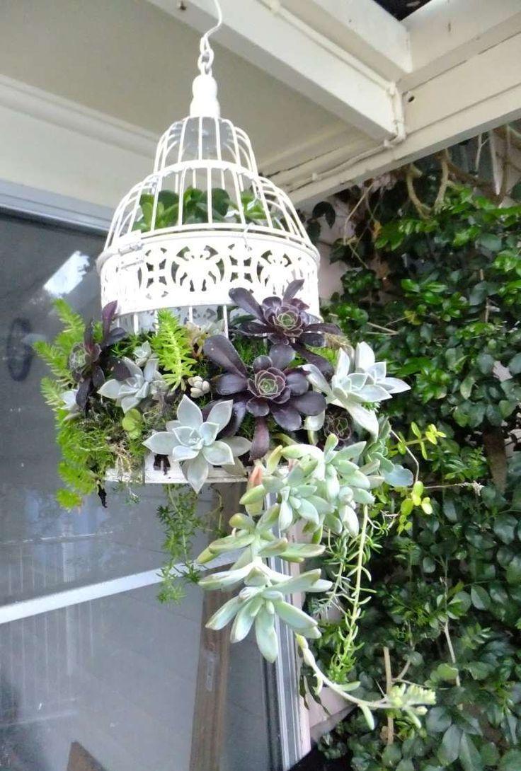 Подвесное кашпо в саду