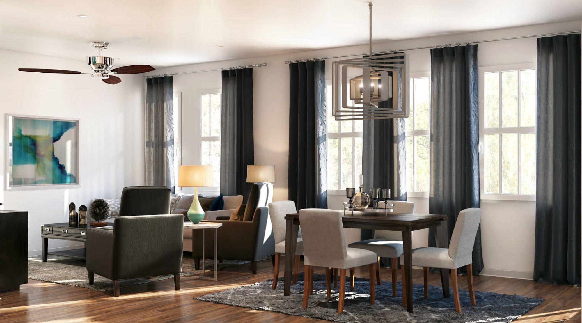 Зонирование гостиной и кухни-столовой