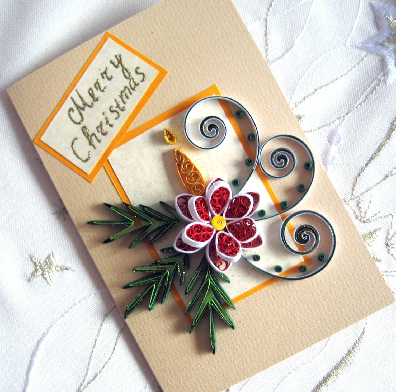 Новогодняя открытка квиллинг