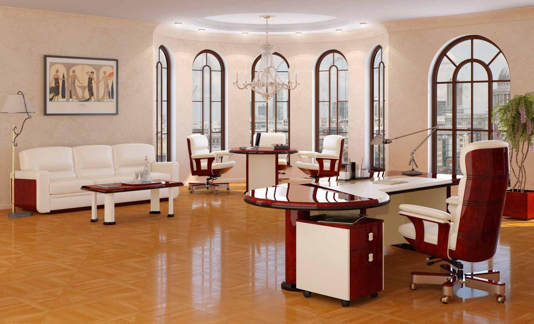 Светлая мебель в кабинете руководителя