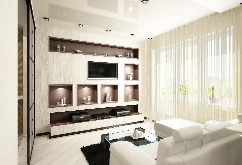 Ниша для ТВ и аксессуаров в гостиной
