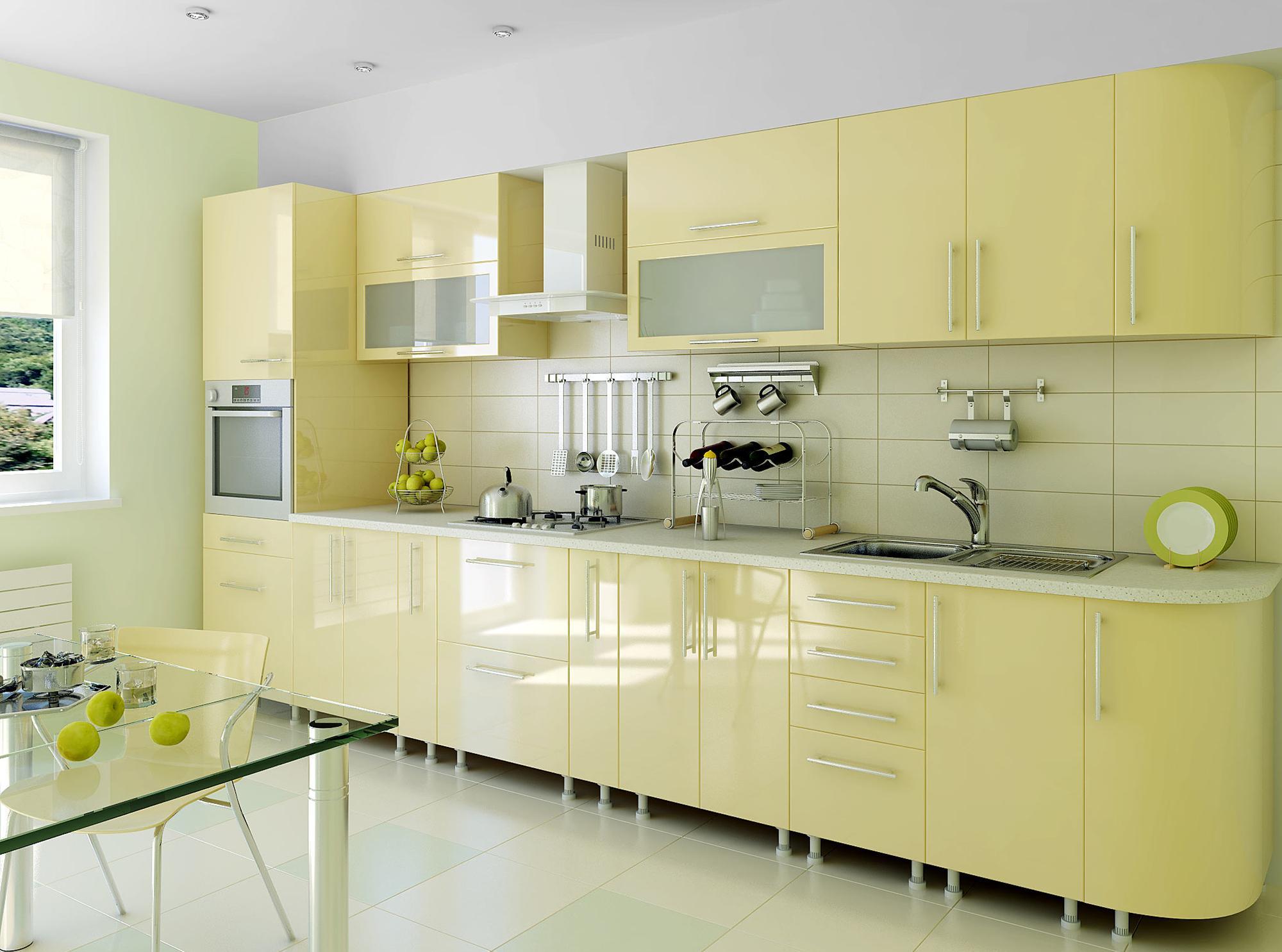 Пастельно-желтый кухонный гарнитур