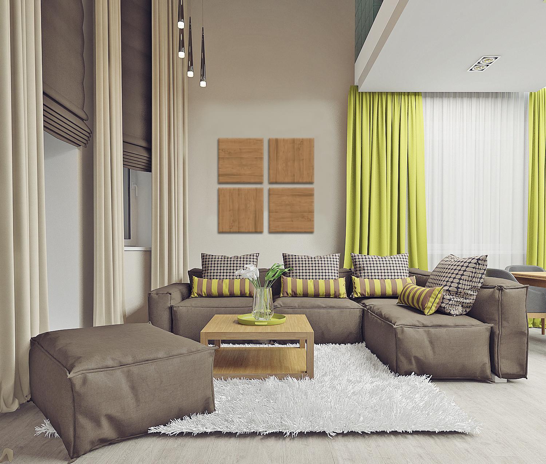 Светлая гостиная с зелеными акцентами