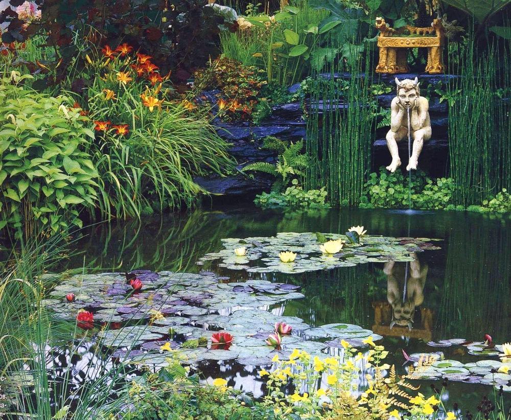 Красивые водяные клумбы в декоративном пруду