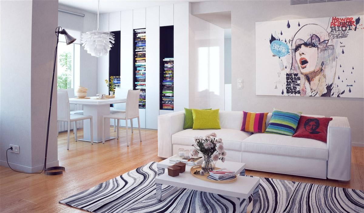 Белые стены и мебель в интерьере