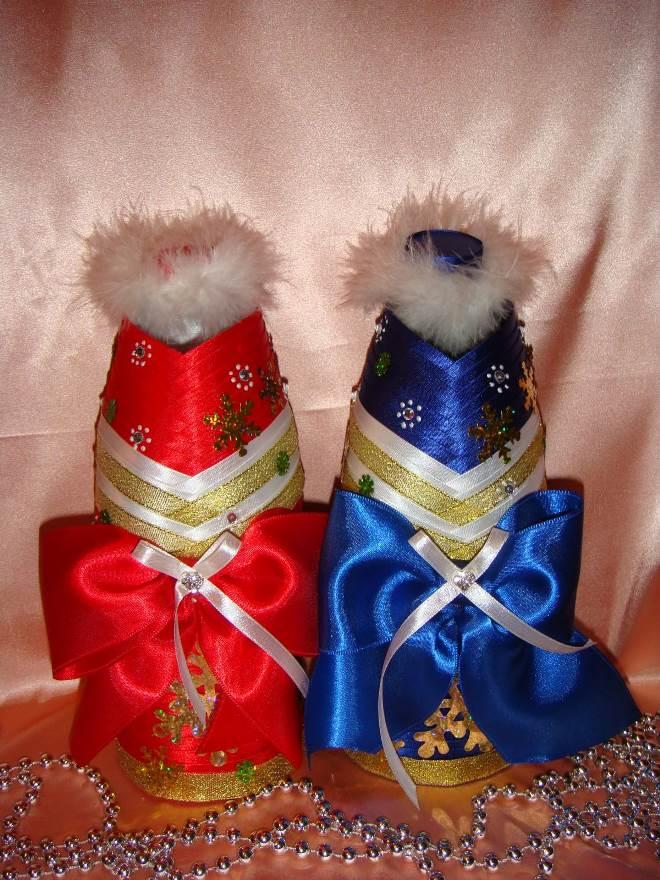 Чехол из фетра в виде Деда Мороза и Снегурочки