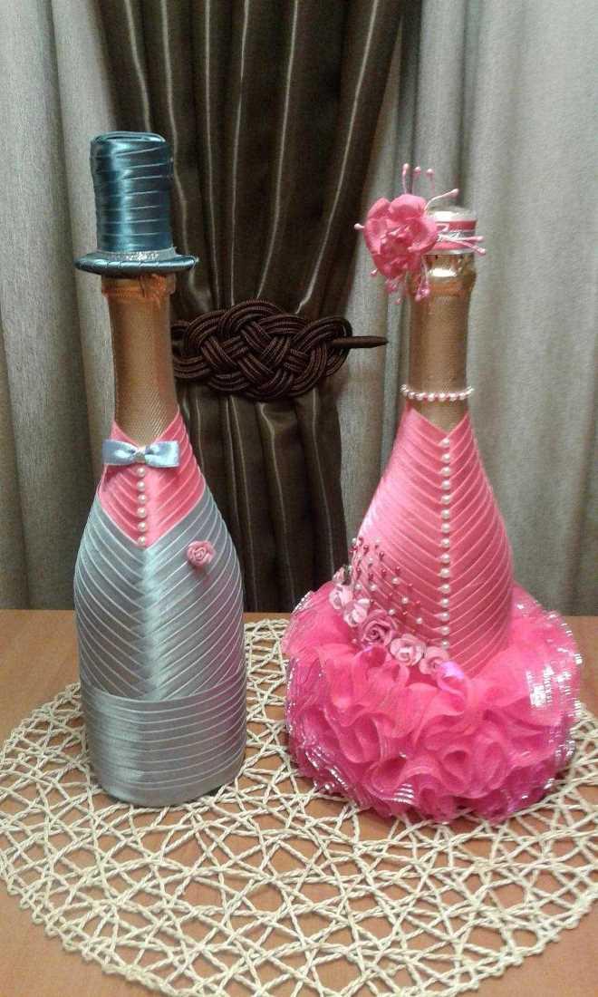 Декор бутылки шампанского на Новый год: оформление атласными лентами