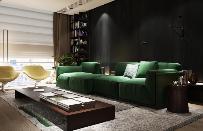 Черно-зеленый цвет в интерьере