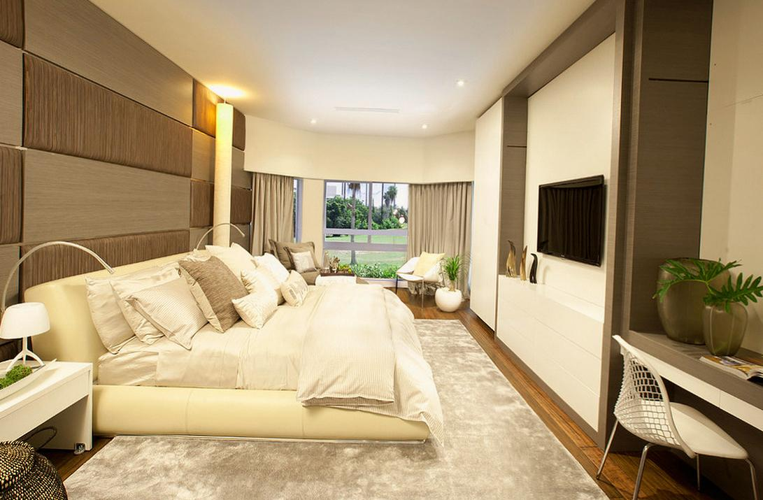Бежево-коричневый дизайн спальни