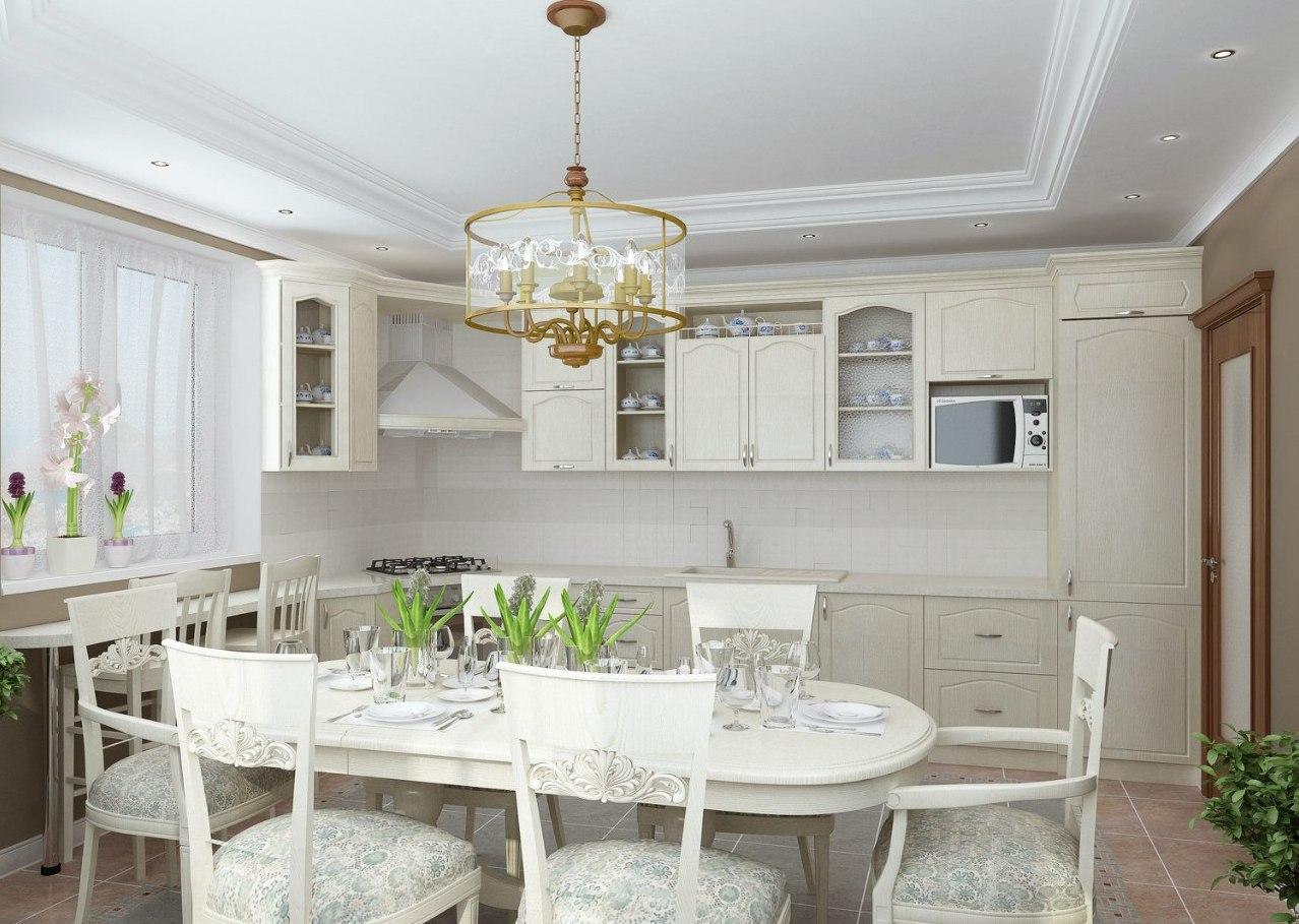 Квадратная светлая кухня в стиле прованс