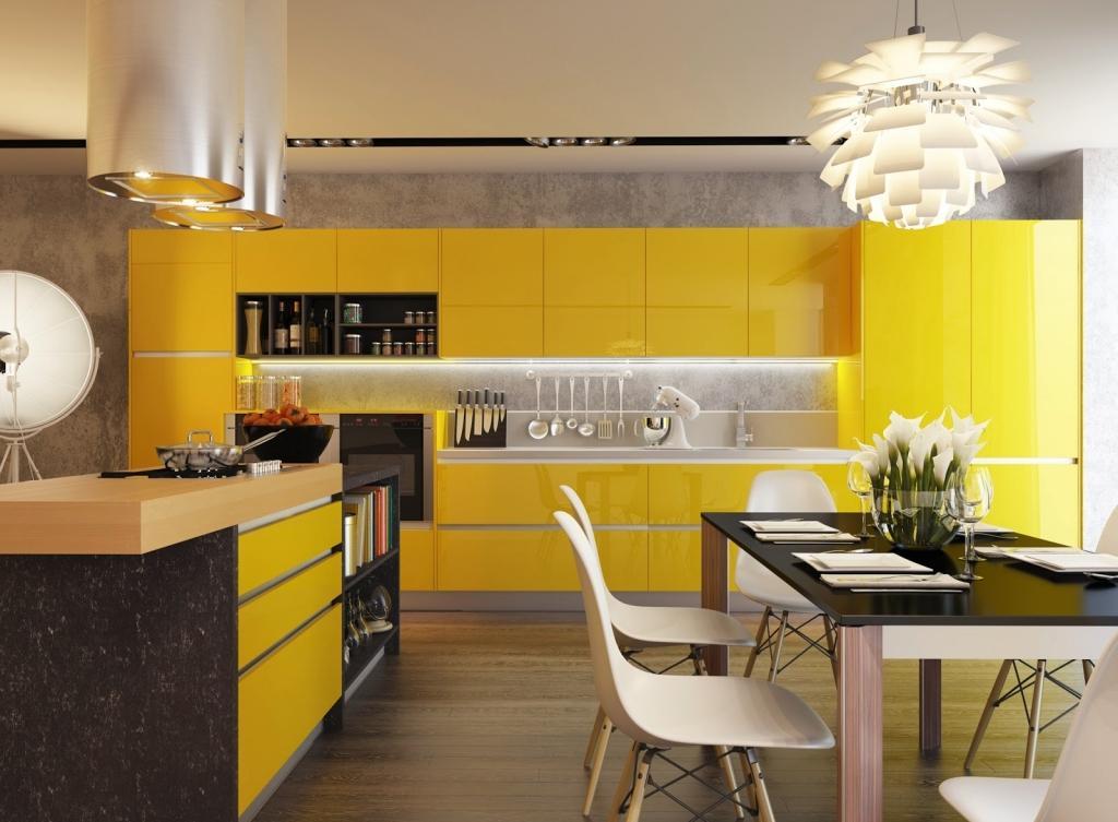 Красивый желтый кухонный гарнитур