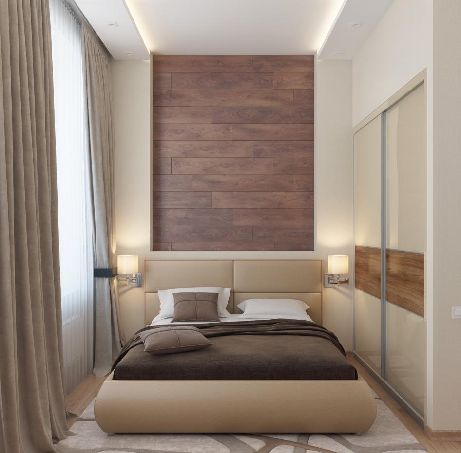 Сочетание землистого и бежевого в небольшой спальне