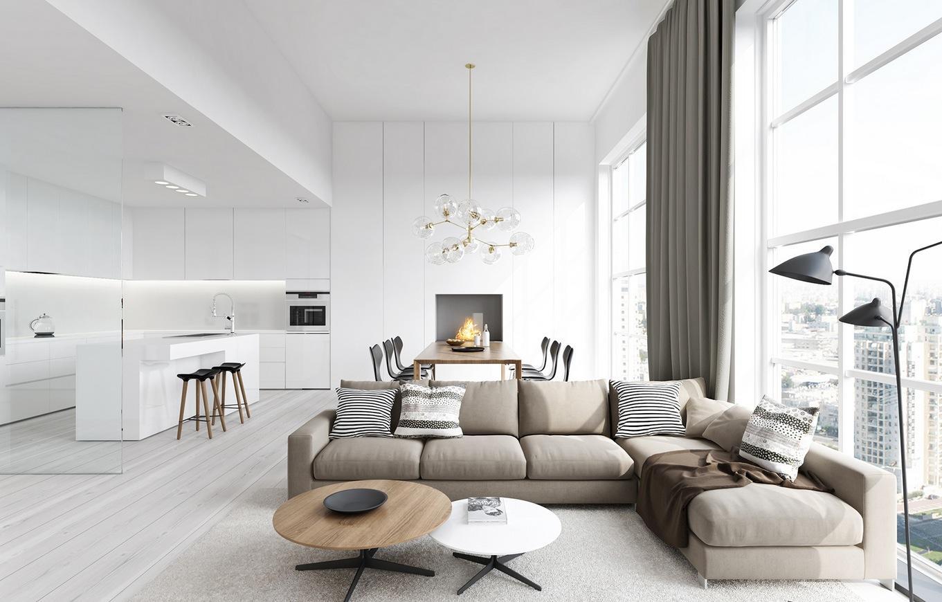 Зонирование гостиной и кухни с камином