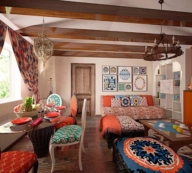 Этнический стиль в деревенском доме