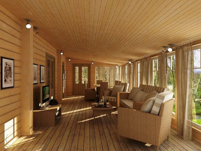 Деревянные потолки на веранде
