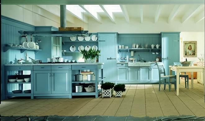 Дизайн и стилистика голубой кухни