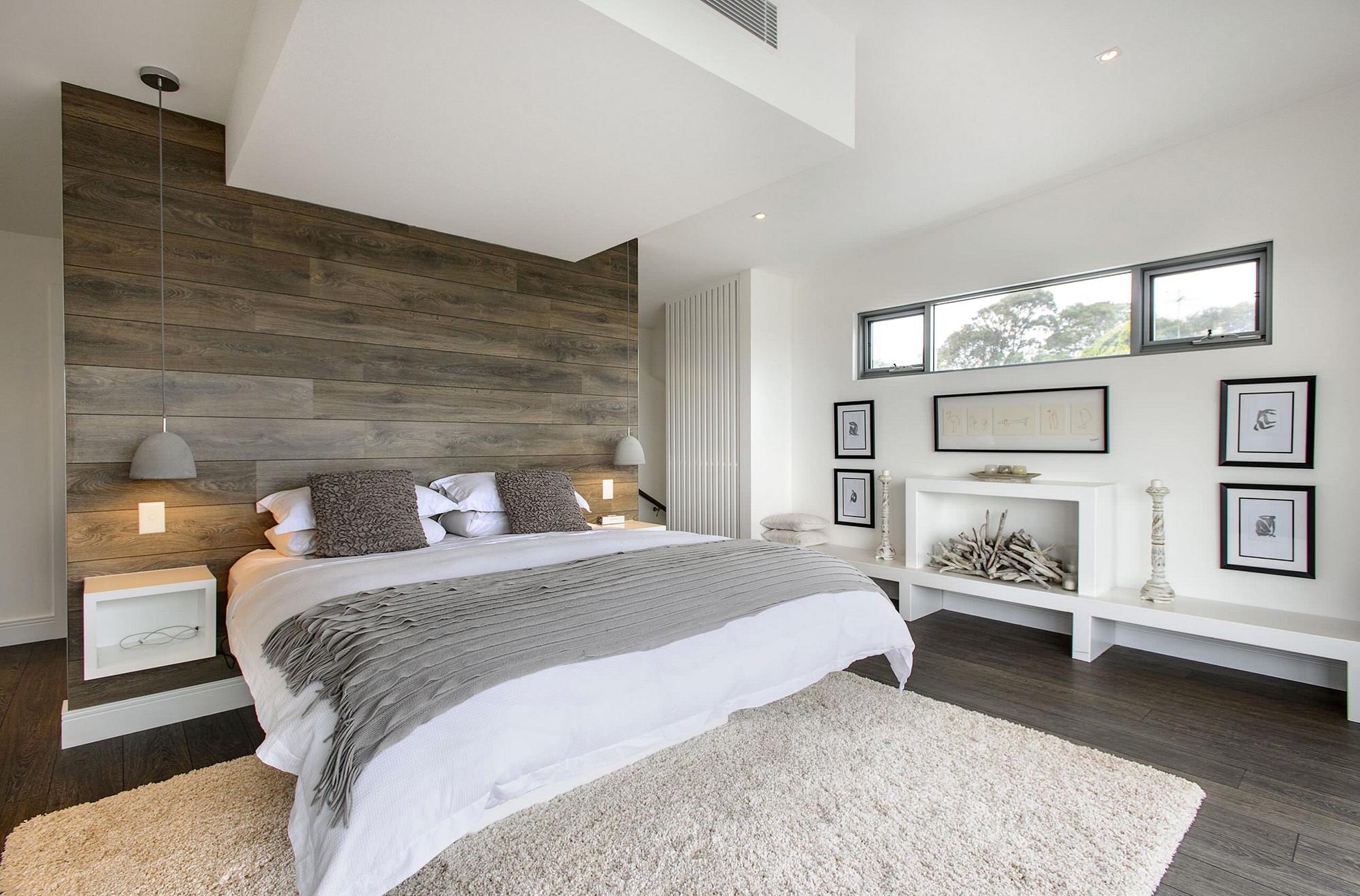 Белый, бежевый, серый и коричневый цвета в интерьере современной спальни