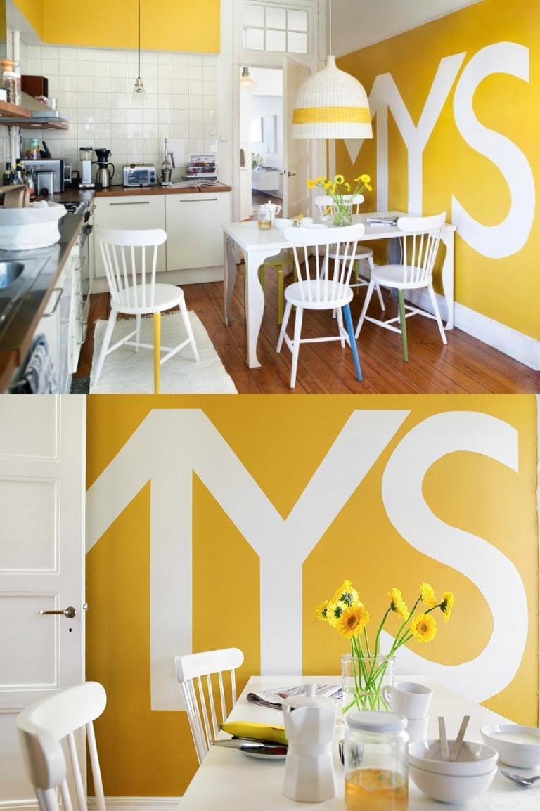 Интерьер маленькой бело-желтой кухни