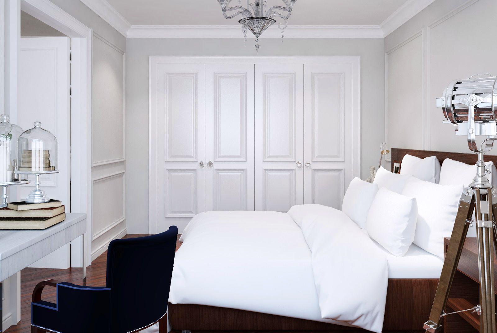Белый потолок в небольшой спальне в стиле модерн