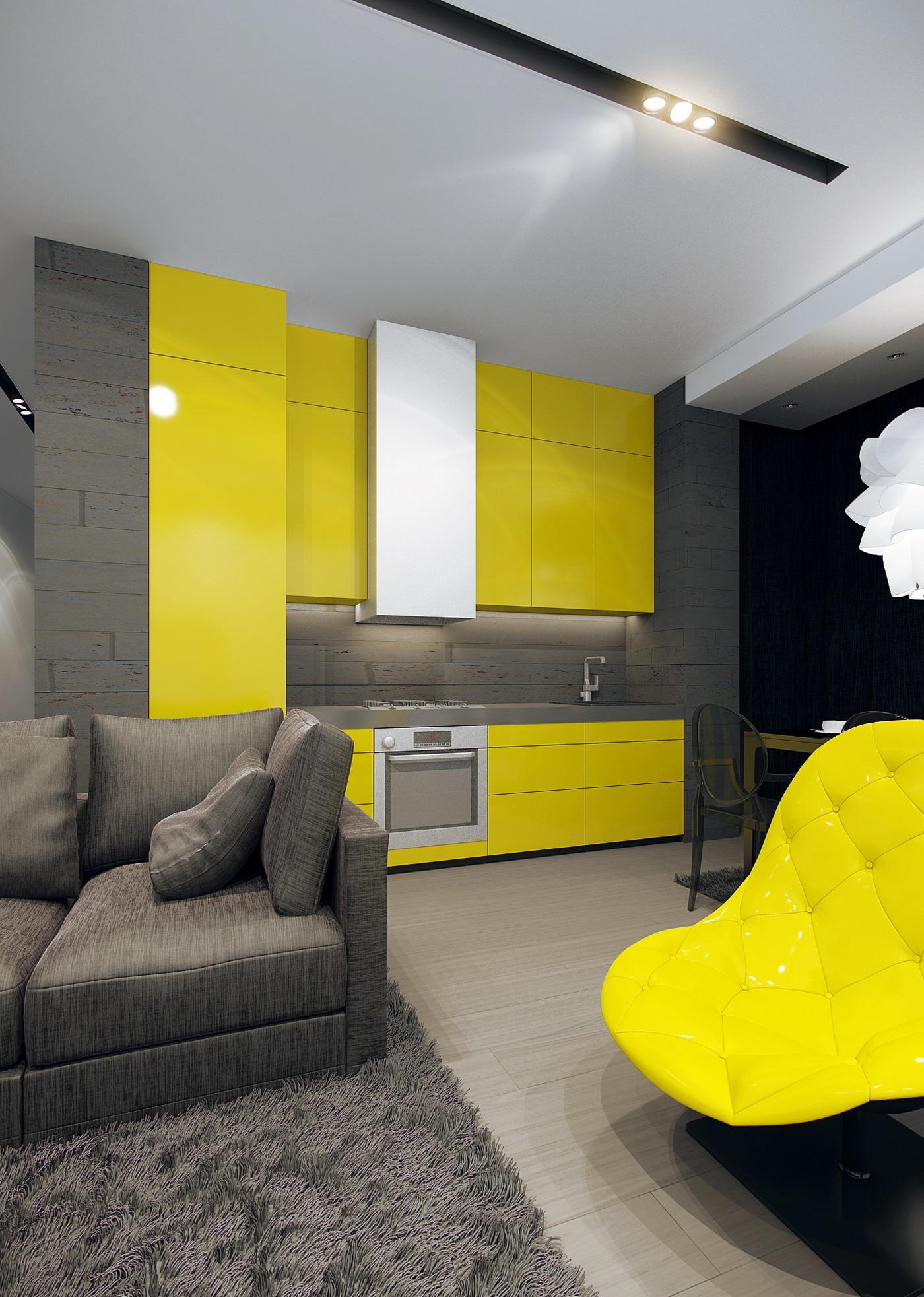 Черно-желтая кухня-гостиная