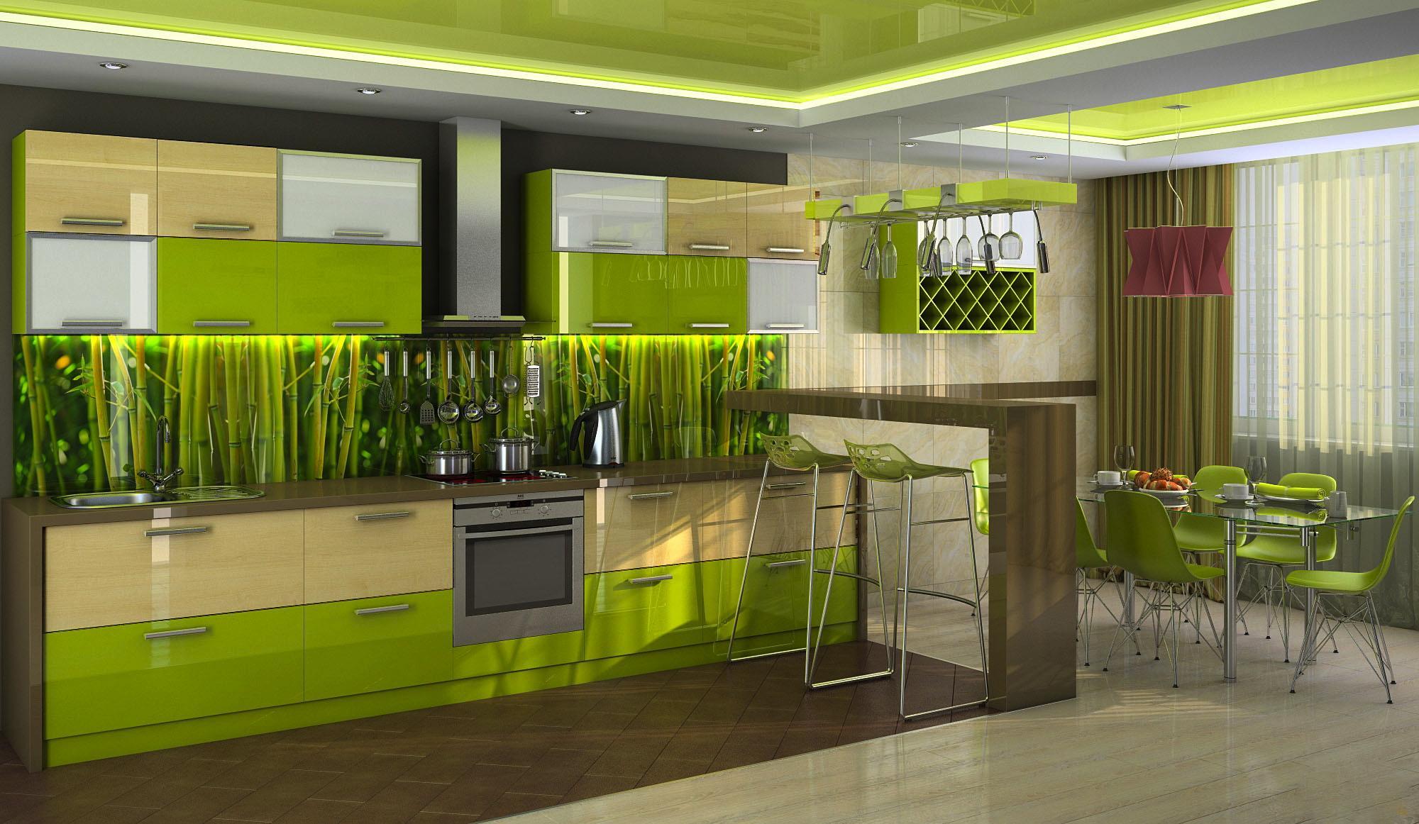 Зеленые обои и фартук с изображением бамбука на кухне