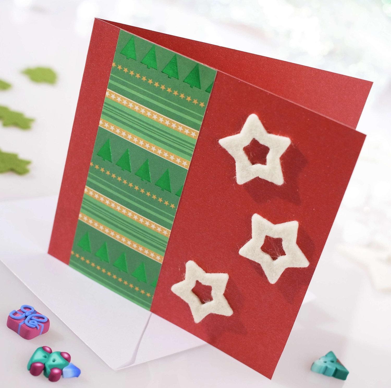 Новогодняя открытка с текстилем