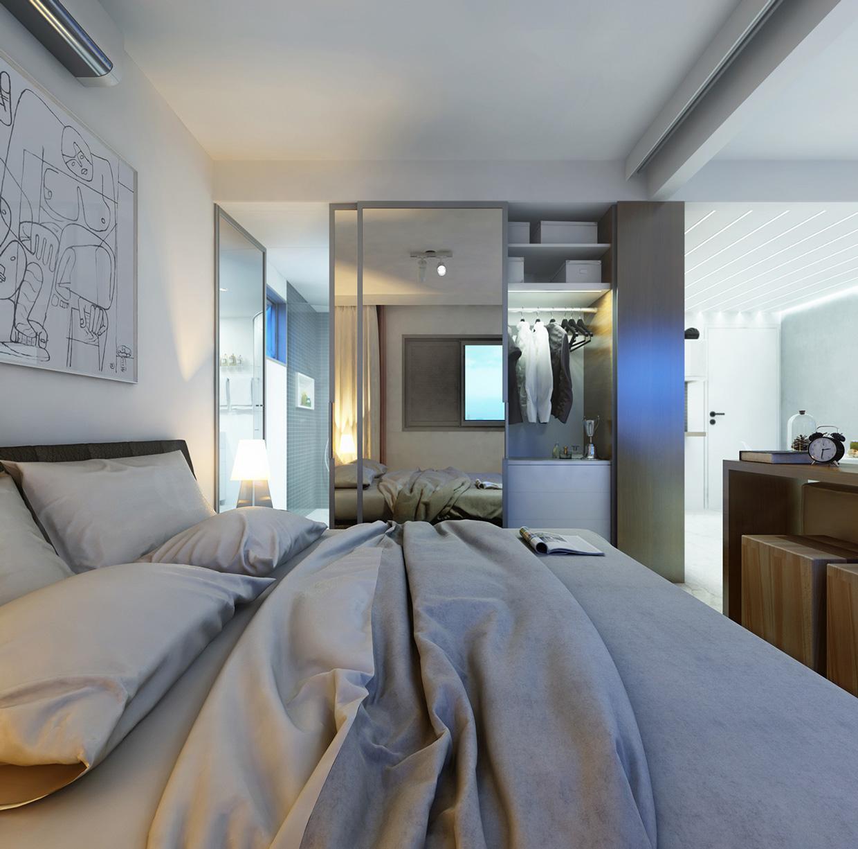 Бело-серая минималистичная спальня
