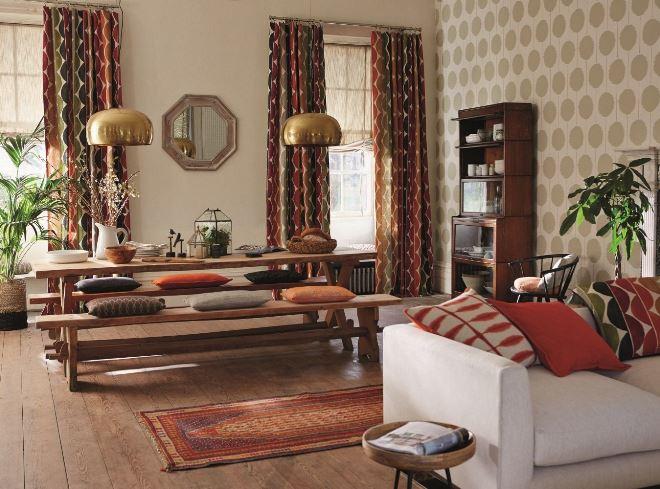 Шторы для гостиной в стиле этно