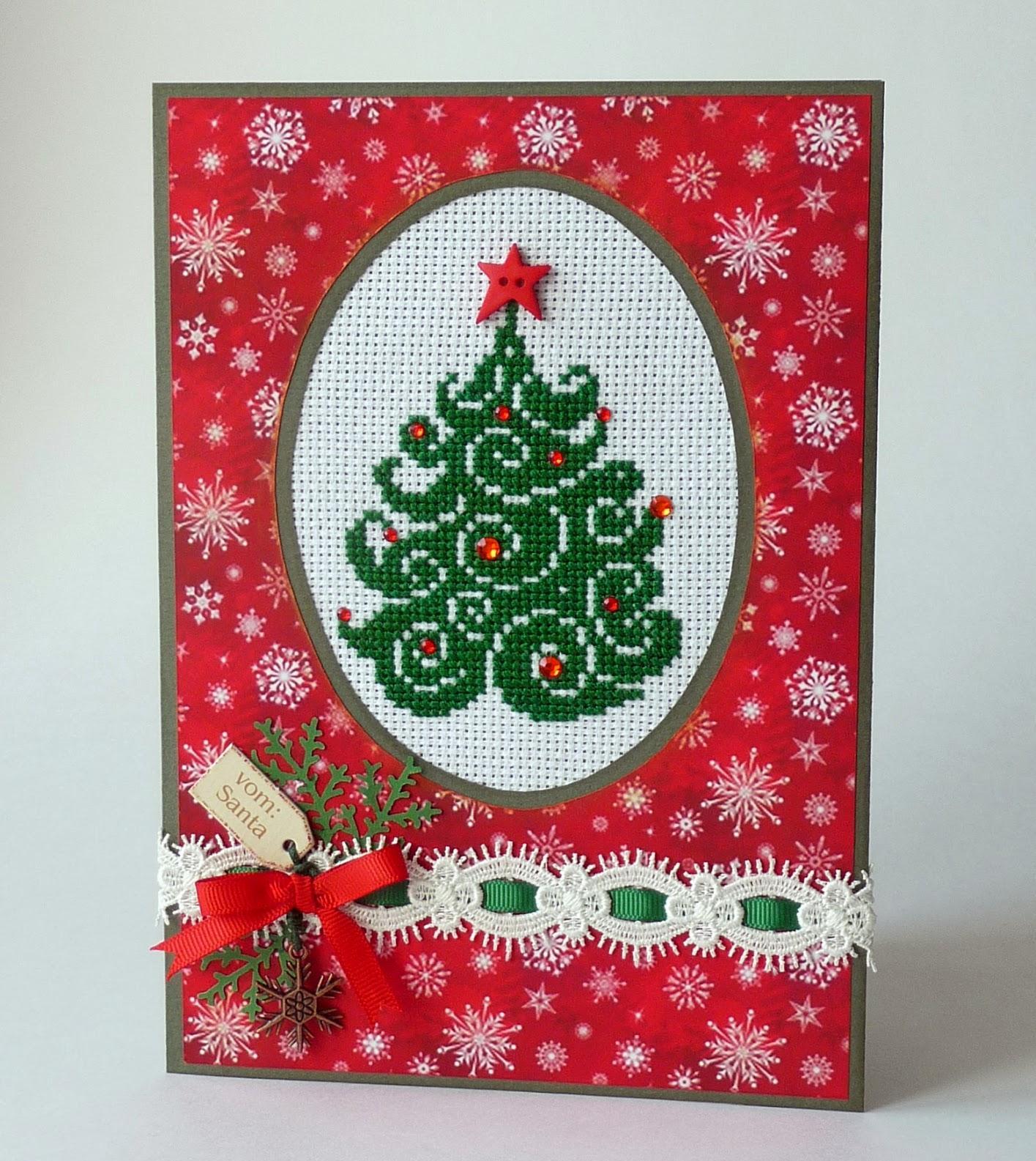Новогодняя открытка с вышивкой