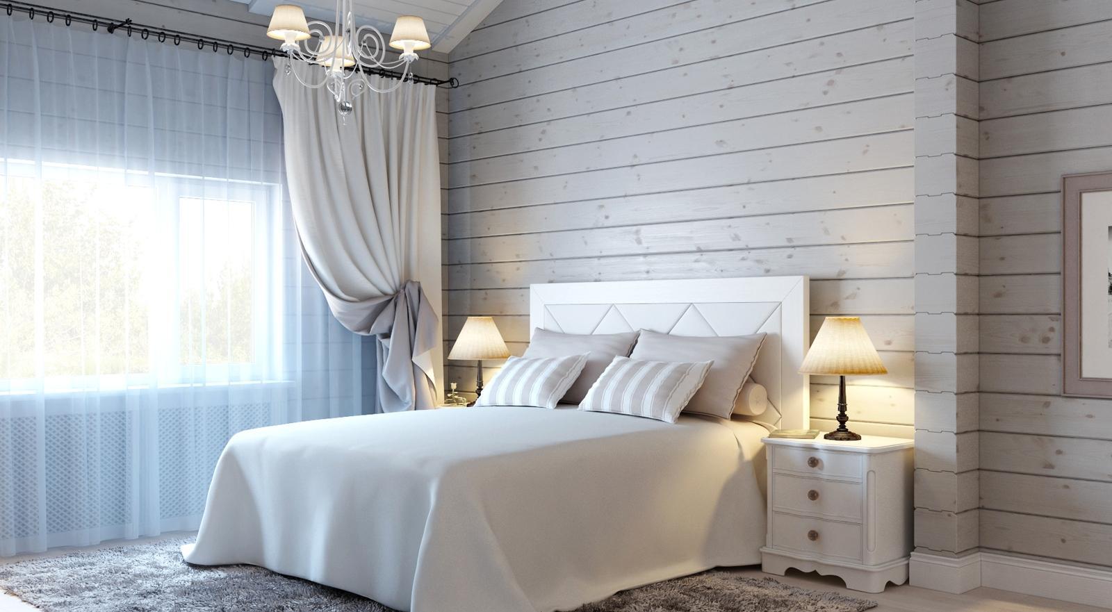 Белая спальня с деревянными стенами