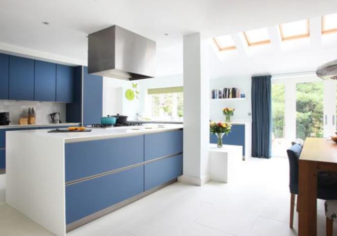 Голубая кухня в интерьере