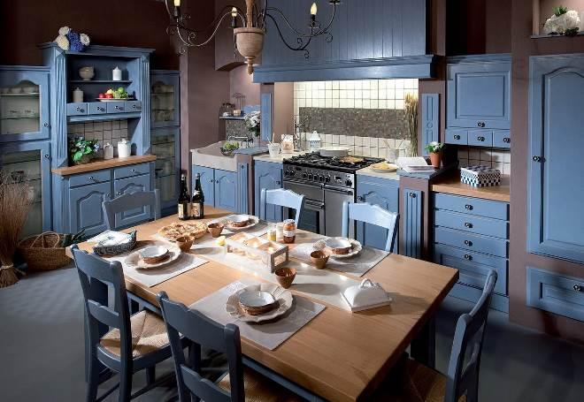 Голубая кухня в стиле кантри