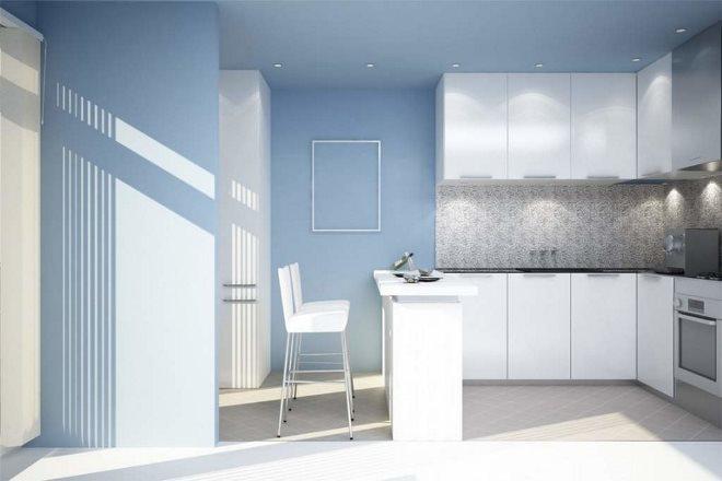 Голубые стены и обои на кухне