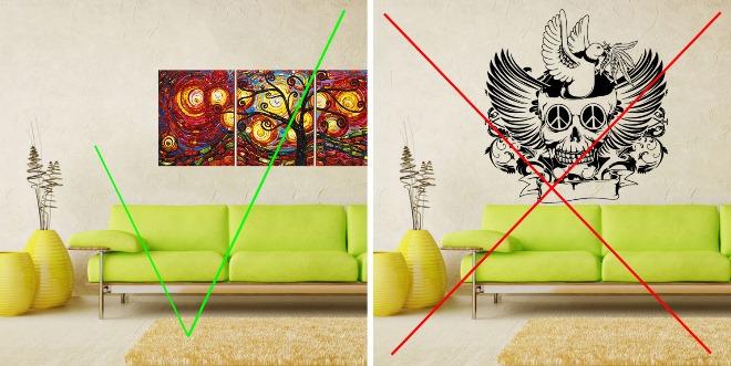 Выбор цвета картин по фэн-шуй