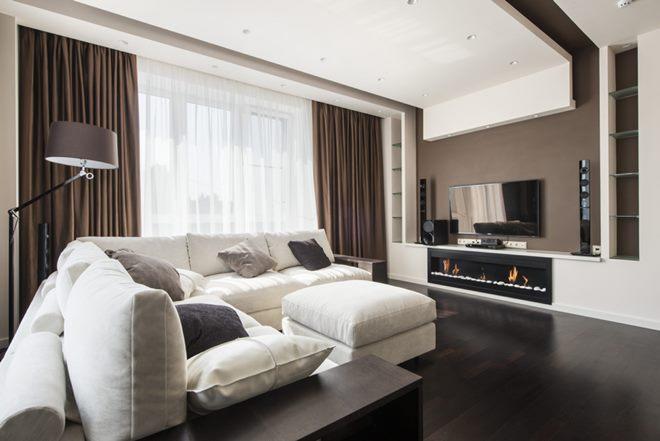 Коричневая мебель в интерьере современной квартиры