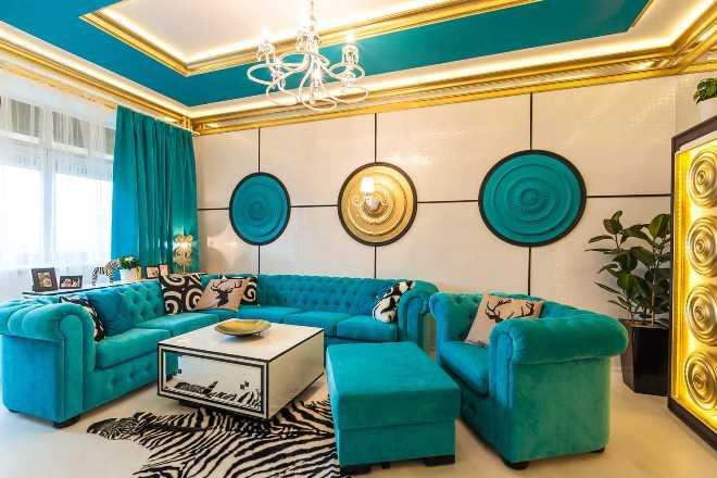 Таниновый цвет с голубым или бирюзовым